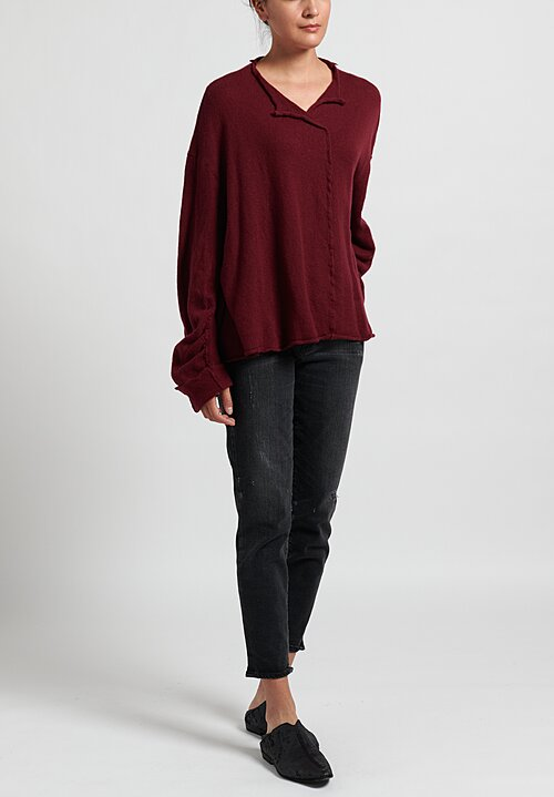 Rundholz Felted Edge Sweater in Granat