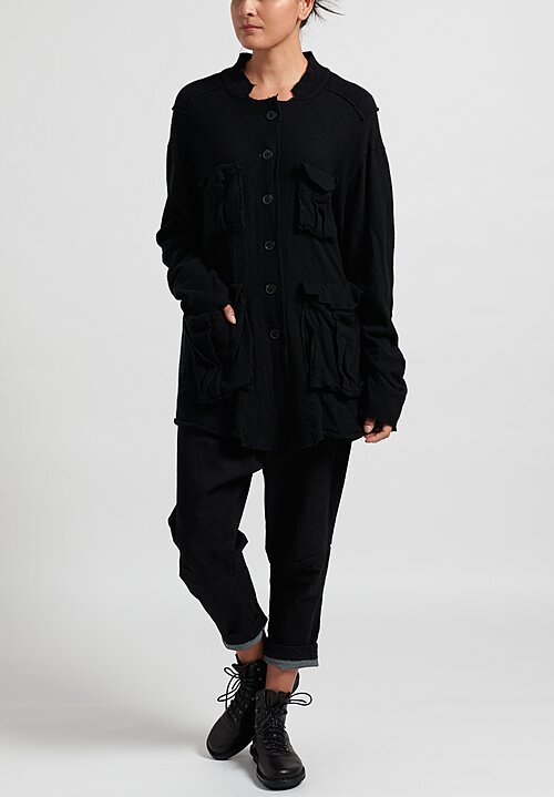 Rundholz Multi-Pocket Cardigan	in Black