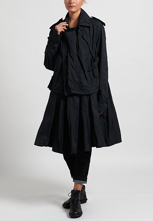 Rundholz Layered and Gathered Coat in Black