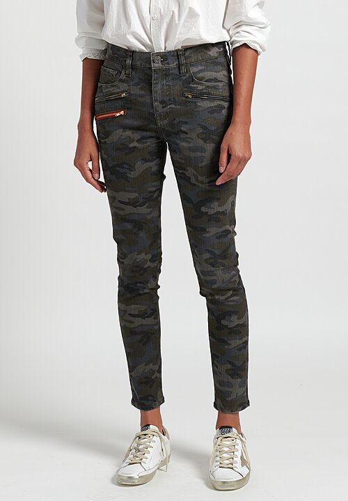 Etienne Marcel Zippered Camouflage Jeans in Green
