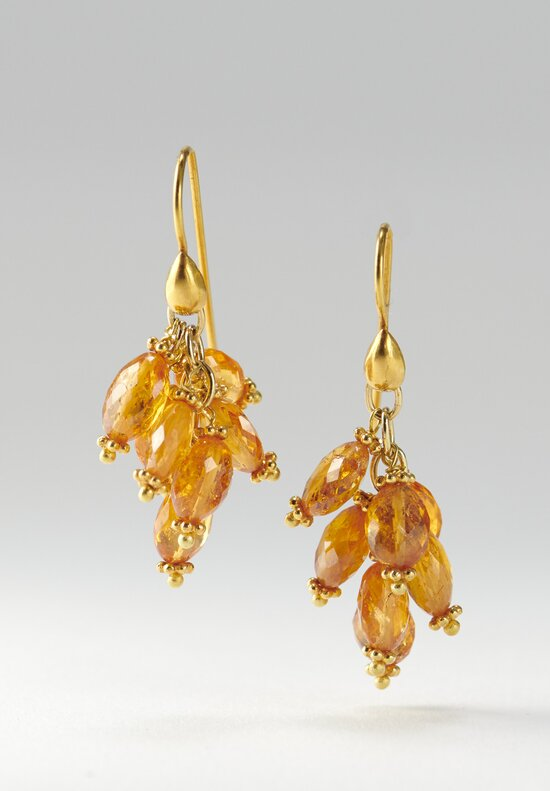 Greig Porter 18k, Mandarin Garnet Dangle Earrings