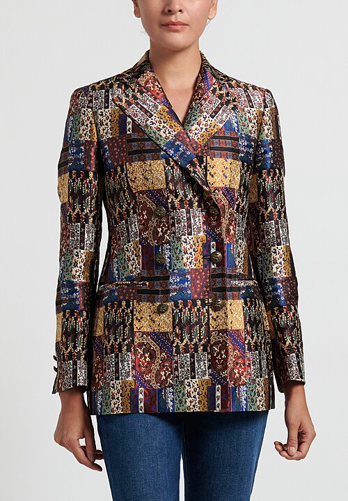 Etro Patchwork Jacquard Blazer in Black