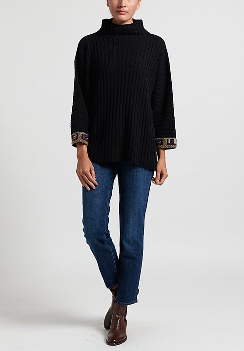 Etro Mock Neck Patterned Cuff Sweater