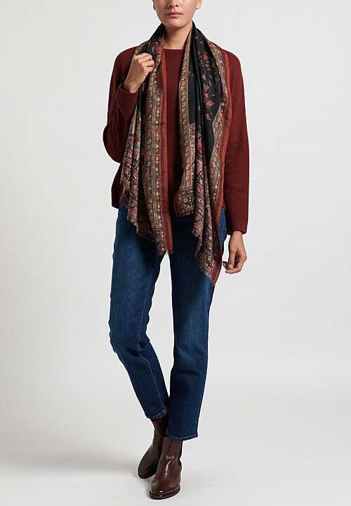 Etro Rose Motif Scarf in Black/ Rust