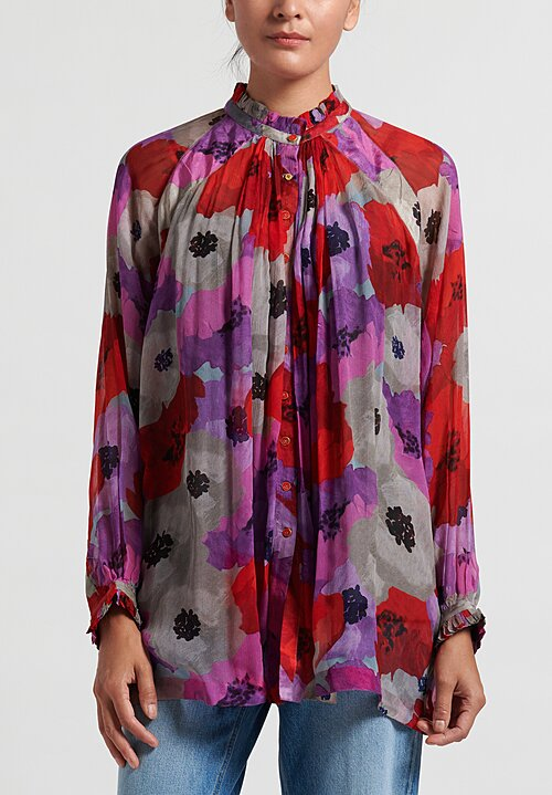 Péro Sheer Floral Blouse in Red/ Purple