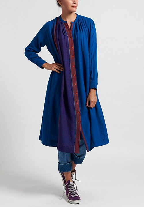 Péro Gathered Color Block Tunic Dress in Blue/ Purple