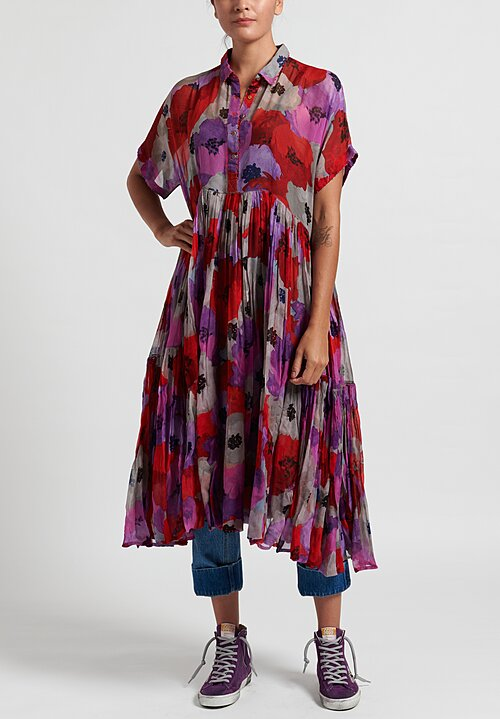 Péro Sheer Floral Point Collar Dress in Red/ Purple
