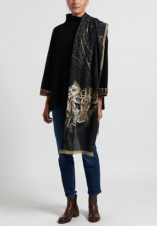 Etro Cheetah Print Scarf in Black