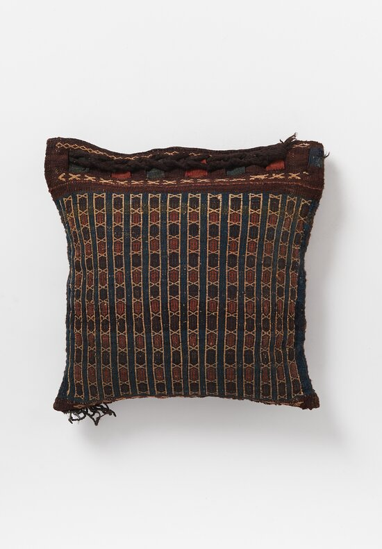 Antique and Vintage Hand-Loomed Braided Border Pillow in Brown Diamond I