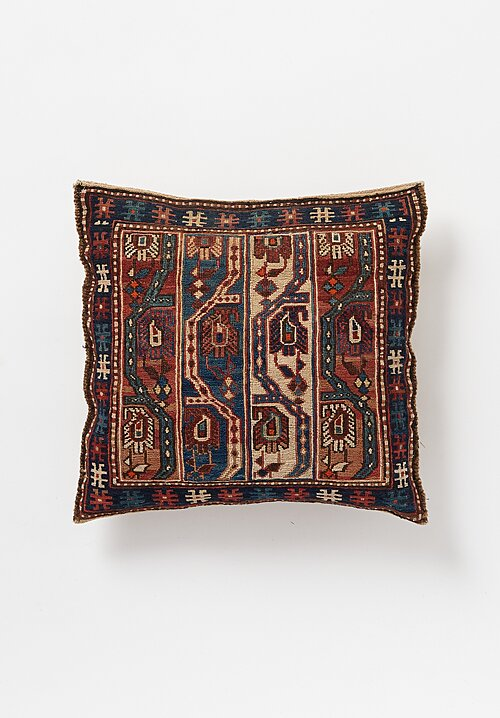 Antique and Vintage Hand-Embroidered Pillow with Intricate Motif in Red/ Blue I