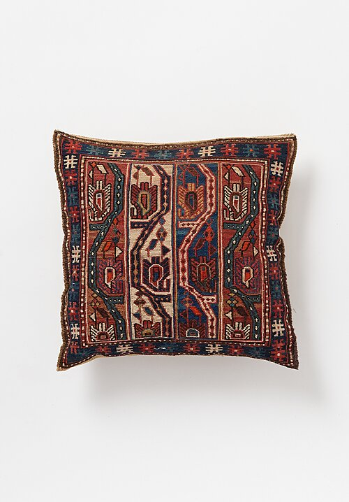 Antique and Vintage Hand Embroidered Pillow with Intricate Motif in Red/ Blue II