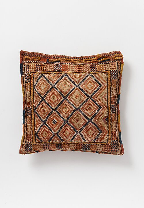 Antique and Vintage Hand-Embroidered Diamond Pillow with Blanket Stitch Edges in Orange/ Tan
