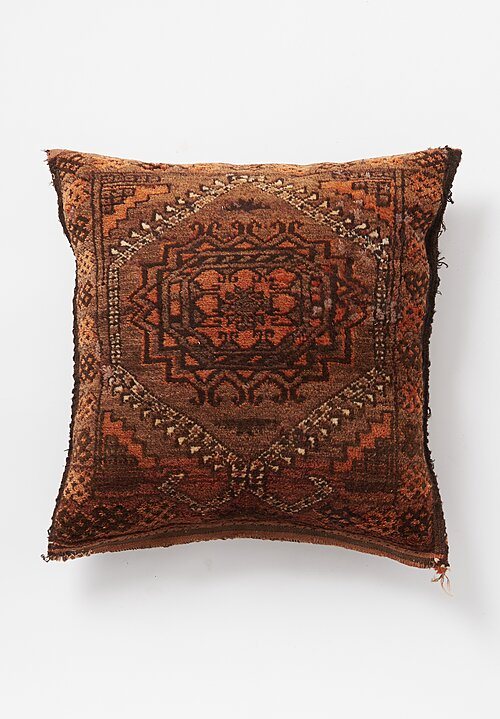 Antique and Vintage Kizil Ayak Camel Saddlebag Pillow in Rust