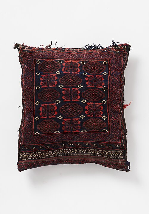 Antique and Vintage Hand Knotted Fringe and Tassel Pillow in Burgundy