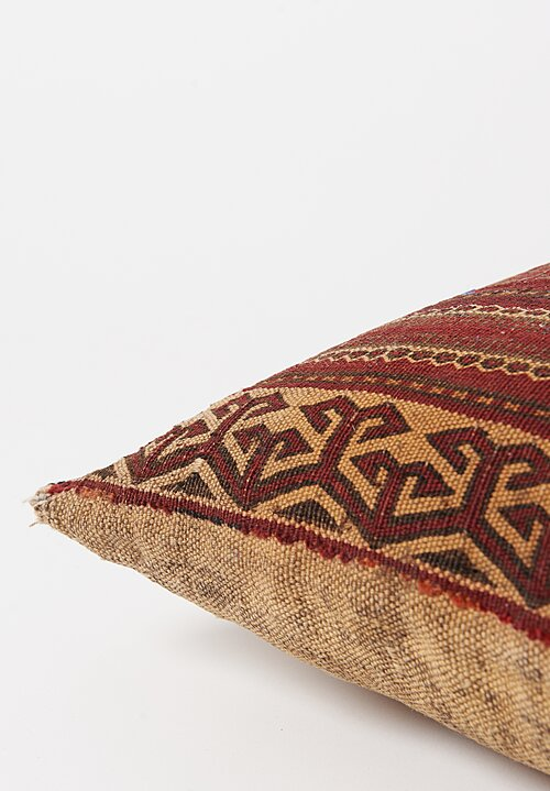 Antique and Vintage Afghan Turkmen Saddle Bag Pillow in Red & Light Grey