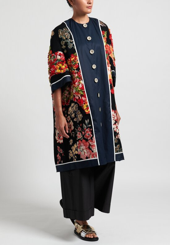 Biyan Embroidered Mosaic Trapeze Coat in Navy