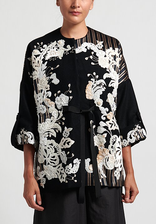 Biyan Cinaya Mozaic Embroidered Jacket in Black