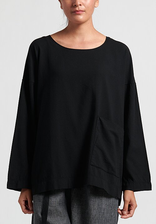 Album Di Famiglia Viscose Pocket T-Shirt in Black