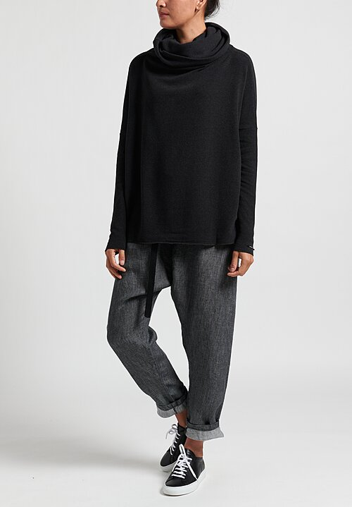Album di Famiglia Wide Turtleneck Sweater in Almost Black