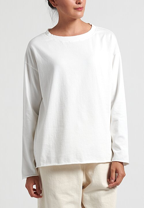 Album Di Famiglia Cotton Long Sleeve T-Shirt in Milk