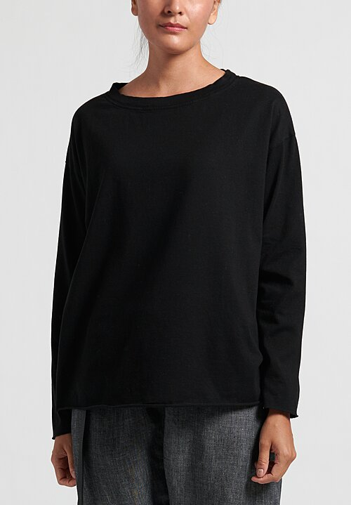 Album Di Famiglia Cotton Long Sleeve T-Shirt in Black