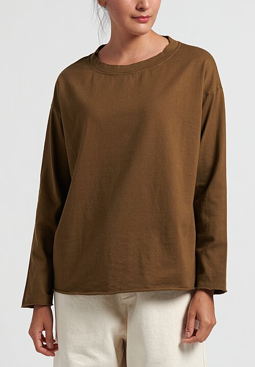 Album Di Famiglia Cotton Long Sleeve T-Shirt in Caramel
