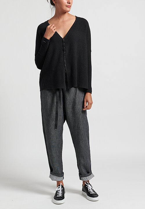 Album Di Famiglia Oversized Cotton Snap-Down Cardigan in Almost Black
