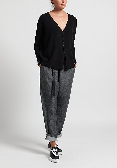 Album Di Famiglia Oversized Cotton Snap-Down Cardigan in Black