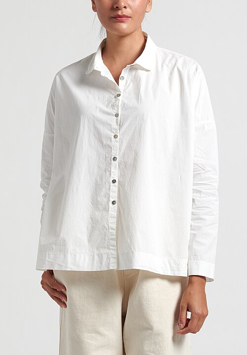 Album Di Famiglia Cotton Short Collar Shirt in Milk
