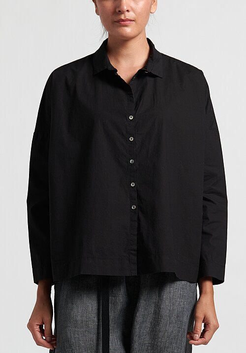 Album Di Famiglia Cotton Short Collar Shirt in Black