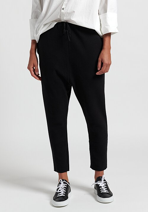Album Di Famiglia New Basic Cotton Pants in Black