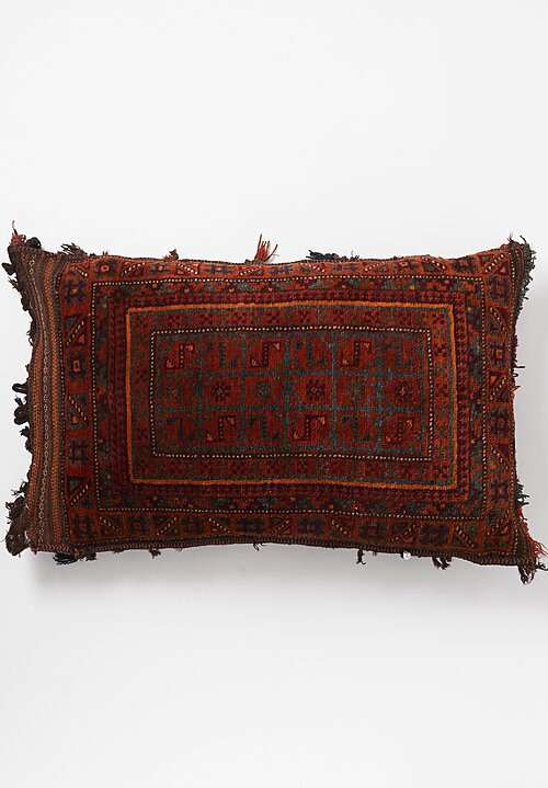 Antique and Vintage Hand Knotted Tassel Pillow in Red Orange