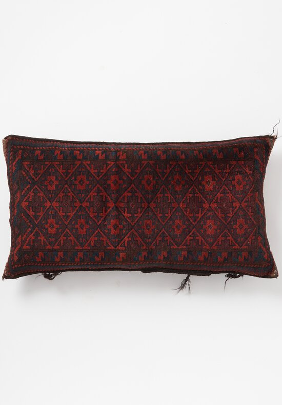 Antique and Vintage Handknotted Diamond Lumbar Pillow in Red/ Navy