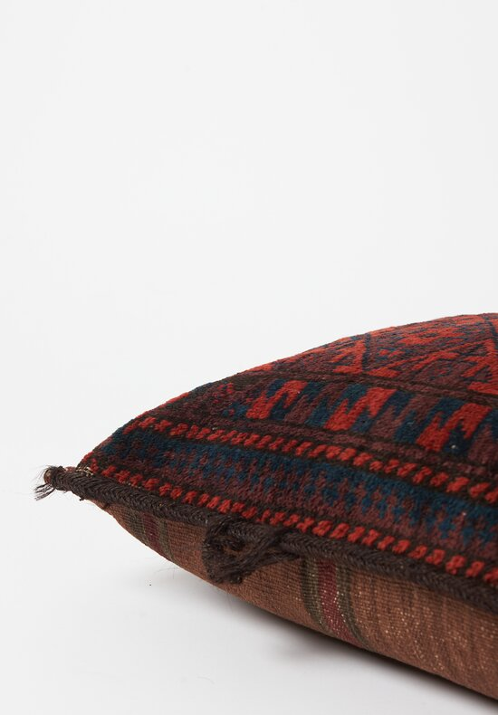 Antique and Vintage Hand-Knotted Diamond Lumbar Pillow in Dark Red