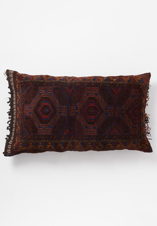 Antique and Vintage Handknotted Patterned Pillow in Red/ Navy Multi