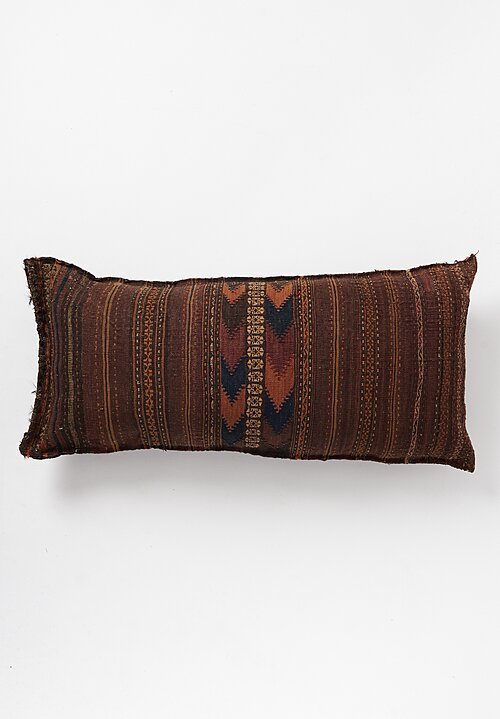 Antique and Vintage Large Hand-loomed Pillow in Dark Brown