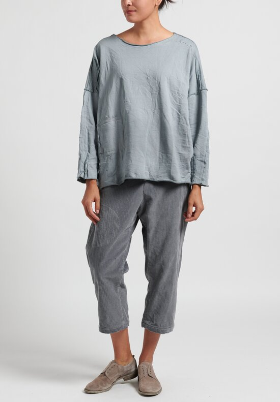 Umit Unal Distressed Long Sleeve Top in Medium Grey