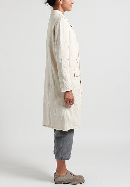 Umit Unal Cotton Peaked Lapel Coat in Cream