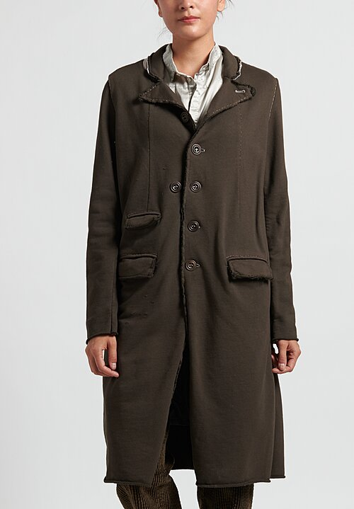 Umit Unal Cotton Peaked Lapel Coat in Olive