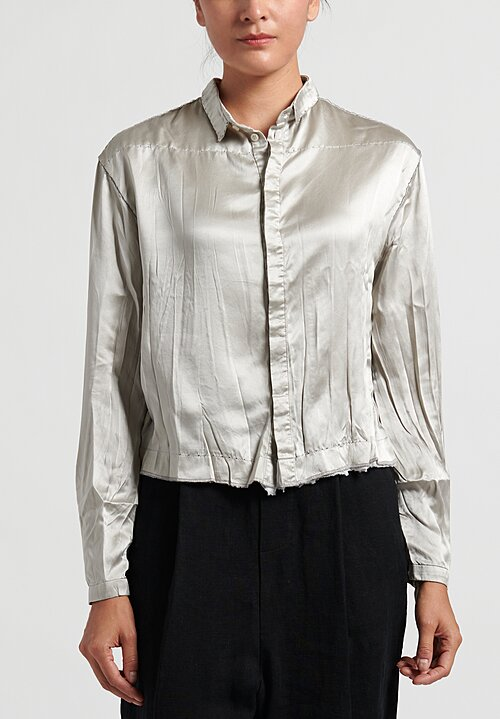 Umit Unal Cropped Silk Button Up Shirt in Light Grey