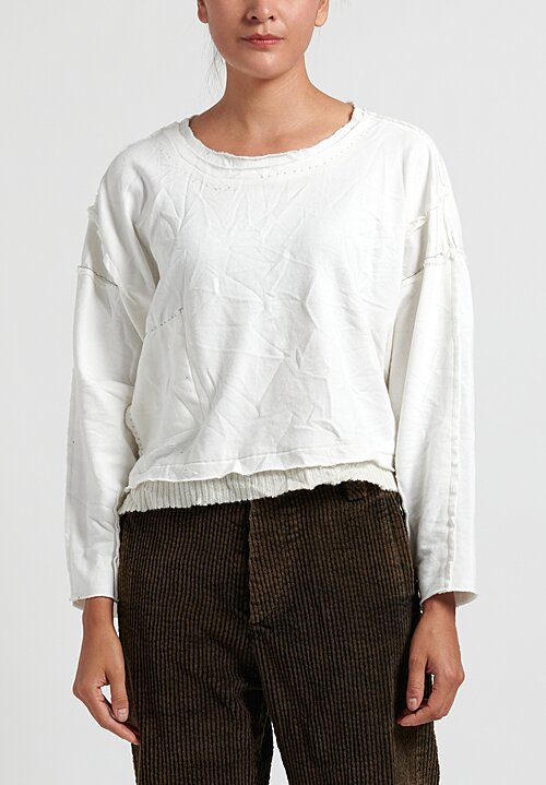 Umit Unal Cropped Sweatshirt with Ribbed Hemline in White