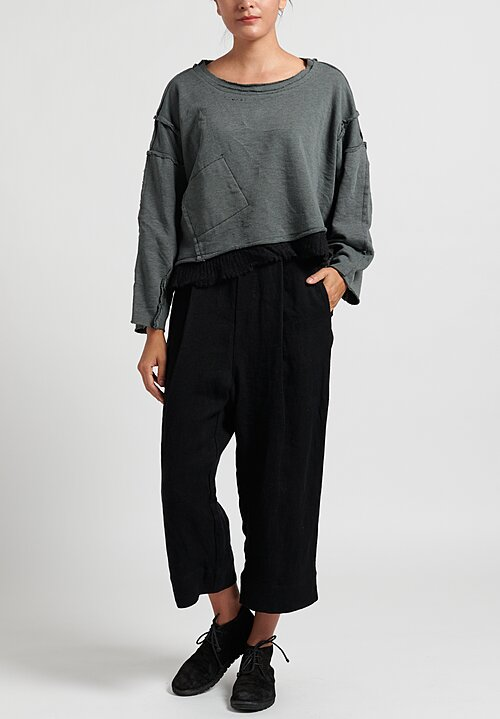 Umit Unal Cropped Sweatshirt with Ribbed Hemline