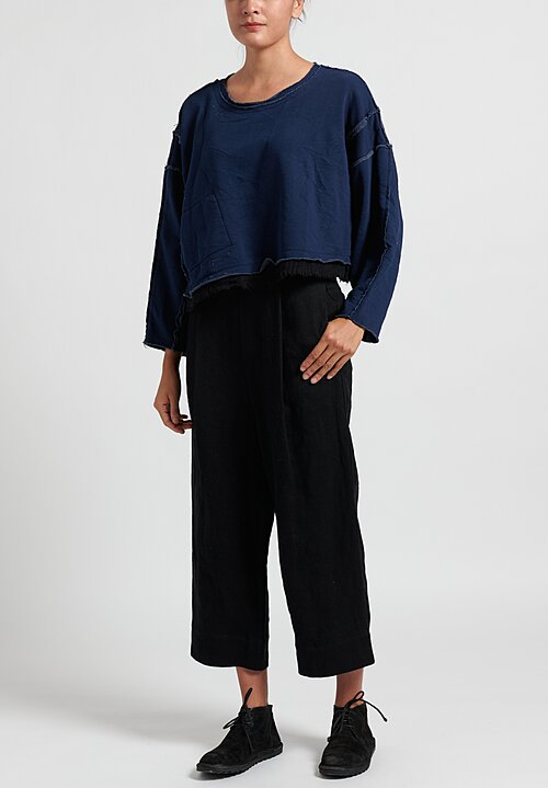 Umit Unal Cropped Sweatshirt with Ribbed Hemline in Navy