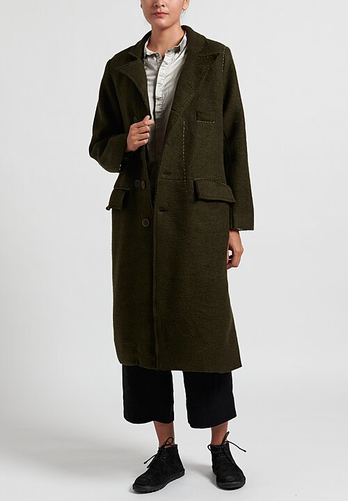 Umit Unal Wool Felted Coat in Green