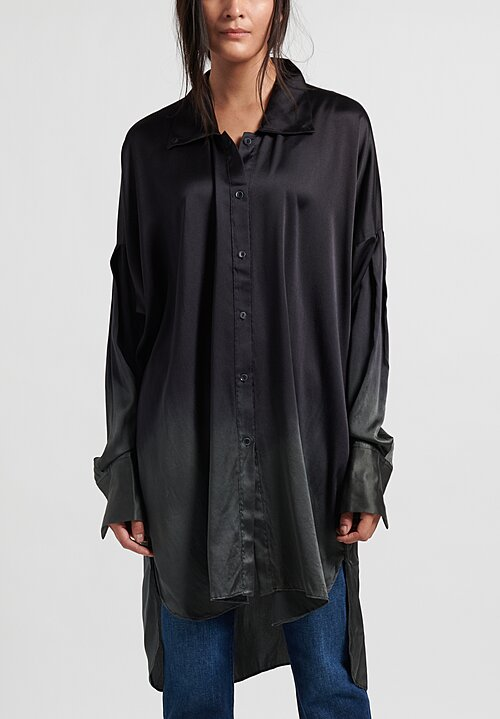 Masnada Silk Shirt in Black/Verde Gris