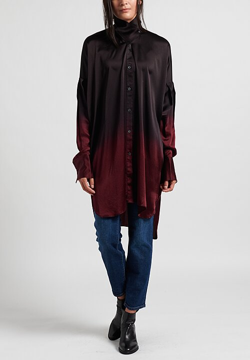 Masnada Silk Shirt in Black/Garnet