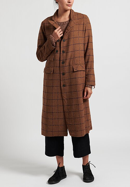 Umit Unal Gridded Coat in Tobacco