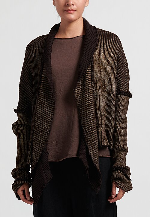 Umit Unal Metallic Cardigan	in Gold