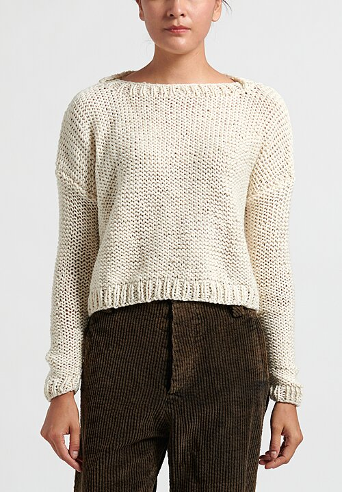 Umit Unal Wide Ribbed Knit Cropped Sweater