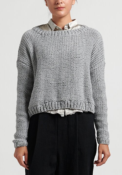 Umit Unal Boat Neck Cropped Sweater in Light Grey